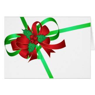 Red Bow Green Ribbon Holly Berry Blank Christmas Card