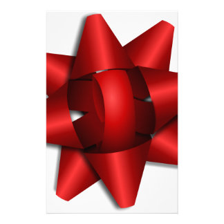 red bow holiday gift ribbon party shower office custom stationery
