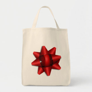 red bow holiday gift ribbon party shower office tote bag