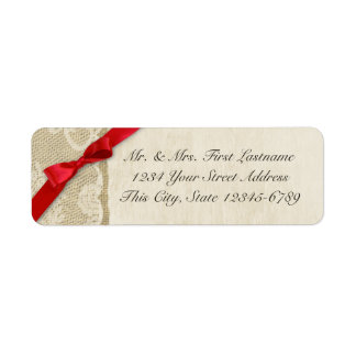 Red Bow, Lace and Burlap Rustic Country Label