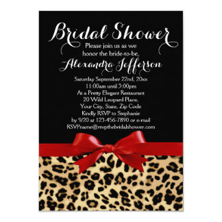 Red Bow Leopard Print Bridal Shower Invitation