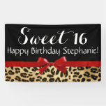 Red Bow Leopard Print Sweet 16 Birthday Party Banner