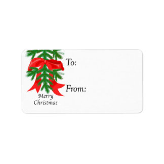 Red Bow on Pine Bough Gift Tag Label