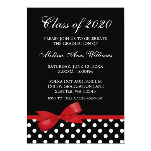 Red Bow Polka Dots Graduation Announcement
