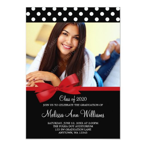 Red Bow Polka Dots Photo Graduation Announcement