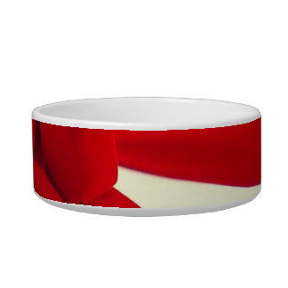 Red bow ribbon dog Christmas bowl