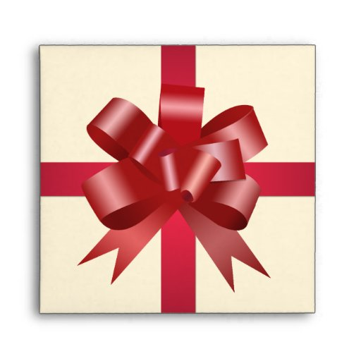 Red bow ribbon party holiday gift square cream CD Envelopes