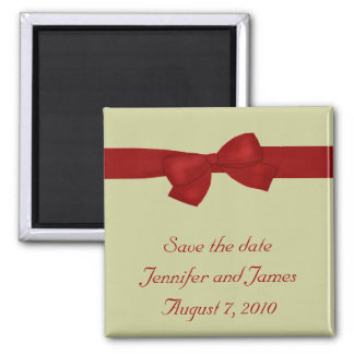 Red Bow Save the Date Magnet