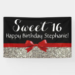 Red Bow Silver Glitter Sweet 16 Birthday Party Banner