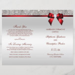 """Red Bow Silver Sequins Wedding Ceremony Program<br><div class=""""desc"""">Beautiful wedding ceremony program with a beautiful sparkly printed glitter, rhinestones, sequins pattern and shiny printed vector diamond bow and ribbon and red text. I have matching products in my store. Text, font and colors of font are all customizable to meet your needs. If you need assistance customizing your product...</div>"""