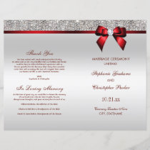 Red Bow Silver Sequins Wedding Ceremony Program
