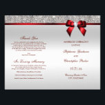 """Red Bow Silver Sequins Wedding Ceremony Program Flyer<br><div class=""""desc"""">Beautiful wedding ceremony program with a beautiful sparkly printed glitter, rhinestones, sequins pattern and shiny printed vector diamond bow and ribbon and red text. I have matching products in my store. Text, font and colors of font are all customizable to meet your needs. If you need assistance customizing your product...</div>"""