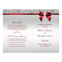 Red Bow Silver Sequins Wedding Ceremony Program Flyer