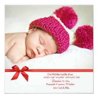 Red Bow Square Photo Holiday Card