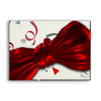 Red bow tie with confetti formal party envelopes