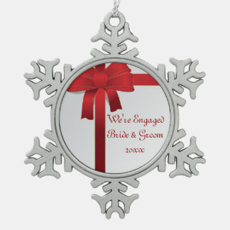 Red Bow Winter Engagement Ornament