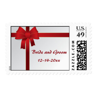 Red Bow Winter Wedding Postage Stamp