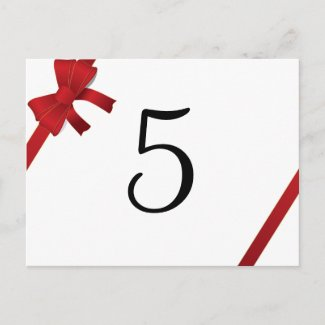 Red Bow Winter Wedding Table Number