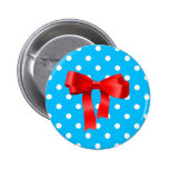 Red Bow with blue and white polka dot Pinback Buttons