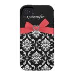 Red Bow with Damask iPhone Case iPhone 4 Case