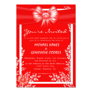 Red Bow With Diamond Floral Wedding Invitation