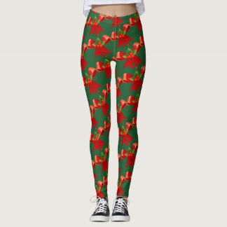 Red Bow with Holly Berries Leggings