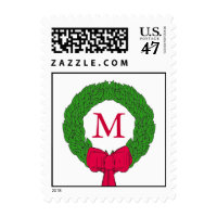 Red Bow Wreath Monogram Christmas Postage Stamps