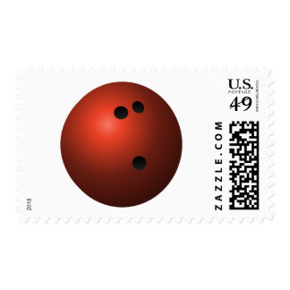 Red Bowling Ball Stamp