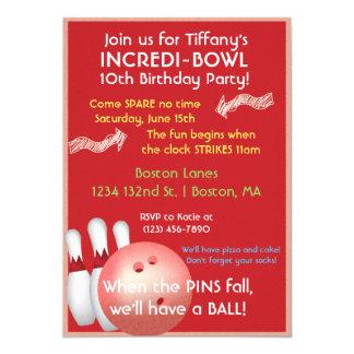 Red Bowling Birthday Invitation