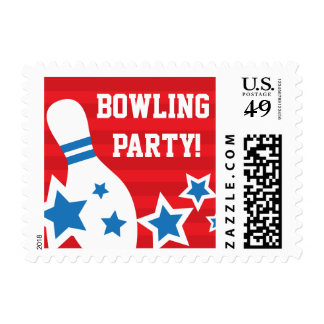 Red bowling party stamp with pin and blue stars