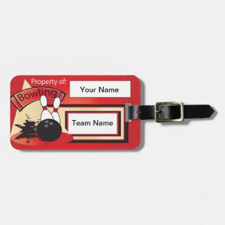 Red Bowling Pins and Ball | Bowler Bag Tag