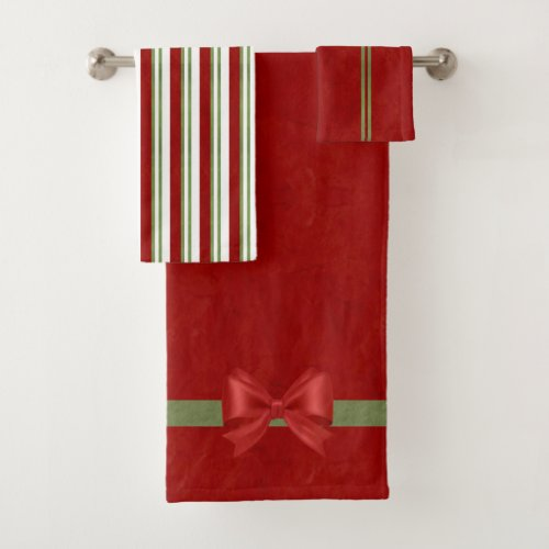 Red Bows and Candy Stripes Bath Towel Set
