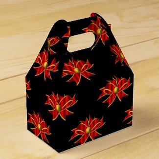 Red Bows Black Christmas Favor Box