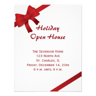Red Bows Holiday Open House Party Invitation