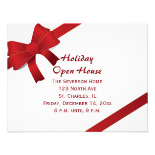 Red Bows Holiday Open House Party Invitation Card at Zazzle