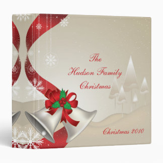 Red Bows Holly Bells Photo Album 3 Ring Binders