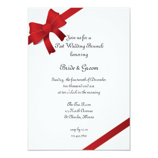 Red Bows Winter Post Wedding Brunch Card