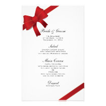 Red Bows Winter Wedding Menu