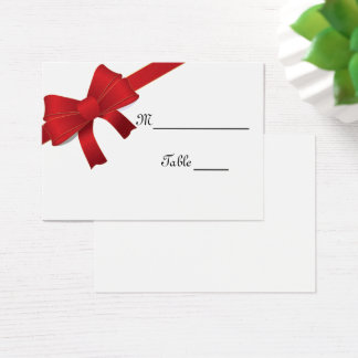 Red Bows Winter Wedding Place Card