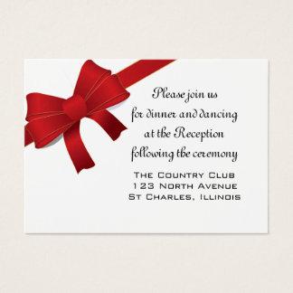 Red Bows Winter Wedding Reception Card