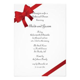 Red Bows Winter Wedding Rehearsal Dinner Invite