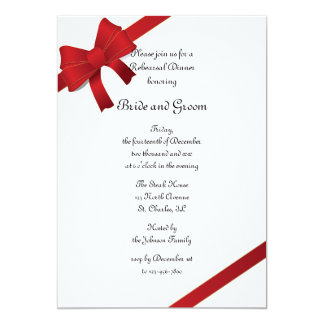 "Red Bows Winter Wedding Rehearsal Dinner Invite 5"" X 7"" Invitation Card"