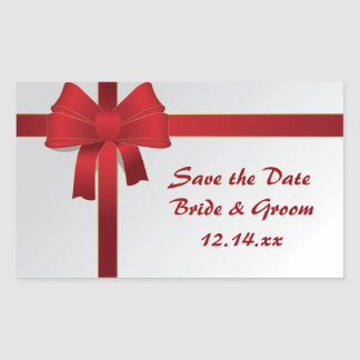 Red Bows Winter Wedding Save the Date Stickers