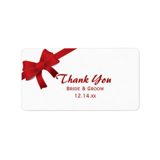Red Bows Winter Wedding Thank You Favor Tags