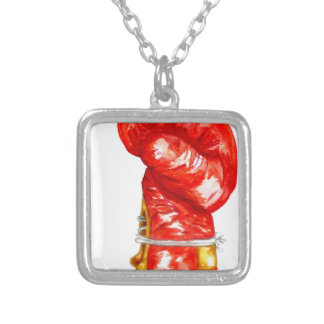 Red Boxing Glove Silver Plated Necklace