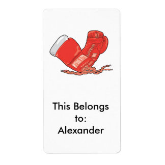 red boxing gloves vector label