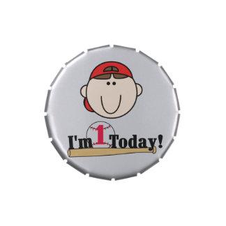 Red Boy Baseball 1st Birthday Candy Tins and Jars
