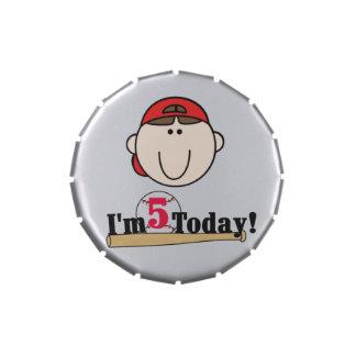 Red Boy Baseball 5th Birthday Candy Tins and Jars