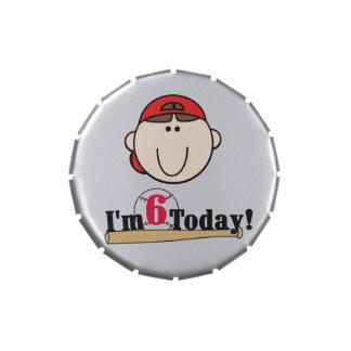 Red Boy Baseball 6th Birthday Candy Tins and Jars