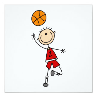 Red Boy Basketball Player t-shirts and Gifts 5.25x5.25 Square Paper Invitation Card